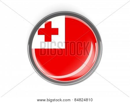 Round Button With Flag Of Tonga