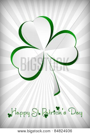 Holiday Card On St. Patrick's Day. March 17. Paper Clover On Striped White Background