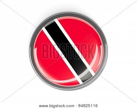 Round Button With Flag Of Trinidad And Tobago