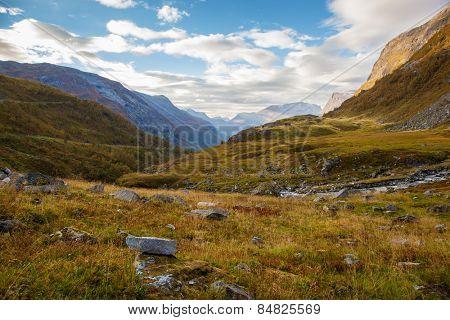 Norwegian mountain autumn landscape near Geiranger