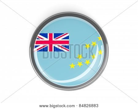 Round Button With Flag Of Tuvalu