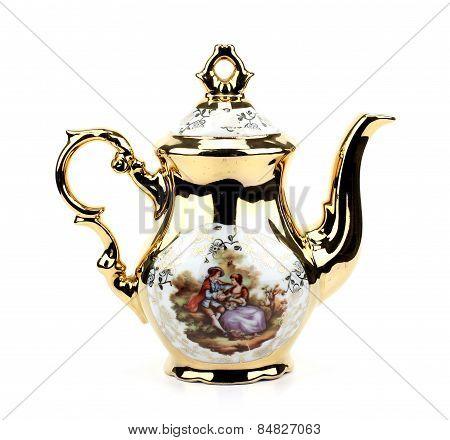 Retro Porcelain Teapot On A White Isolated Background
