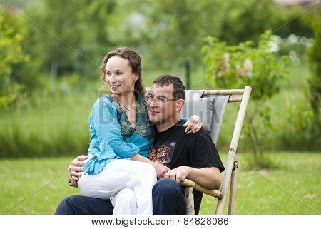 Happy couple on nature