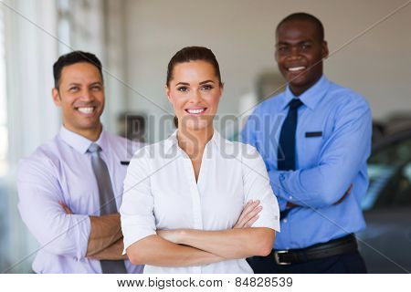 portrait of car dealership staff standing in showroom
