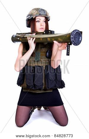 Woman In A Military Camouflage With A Grenade Launcher