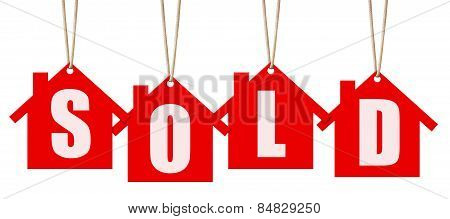 Hanging Sold Letter Tags Isolated On White With Clipping Path.