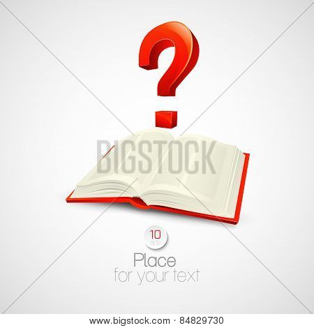 The book with a question mark. Vector illustration