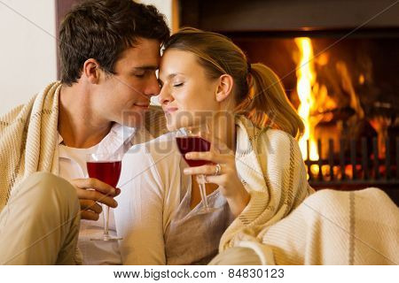 loving young couple enjoying spend time together at home