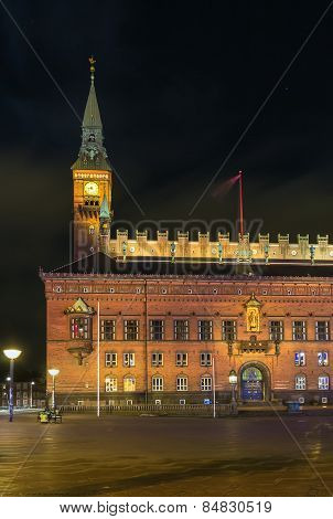 Copenhagen City Hall In Evening