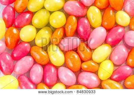 Colorful sugar-coated almond egg-shaped candy