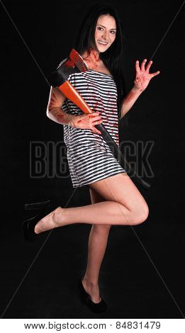 Happy Young Woman With A Big Bloody Axe