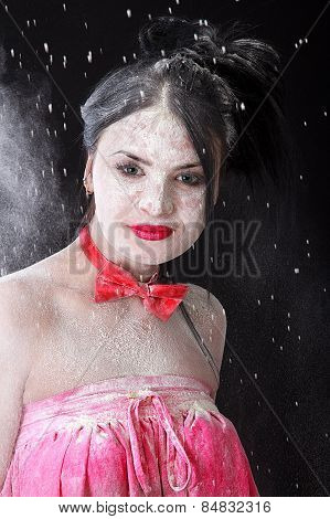 Young Beautiful Woman Covered With A White Powder