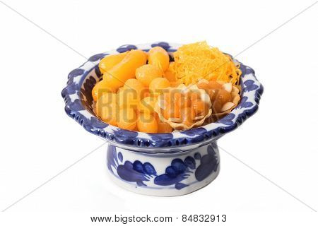 Asian Dessert ,made Of Bean-paste ,egg Yoke Fudge Balls Cooked In Syrup