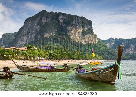 Traditional Thai Boat, Long Tail Stand In The Sea At Railay Beach, K
