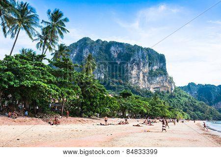 Krabi,thailand,december 11,2013:railay Beach, Krabi, Andaman Sea Thailand