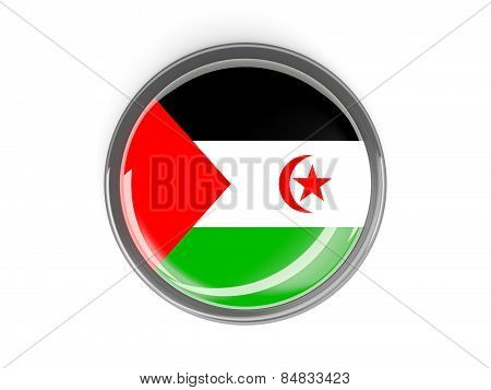 Round Button With Flag Of Western Sahara