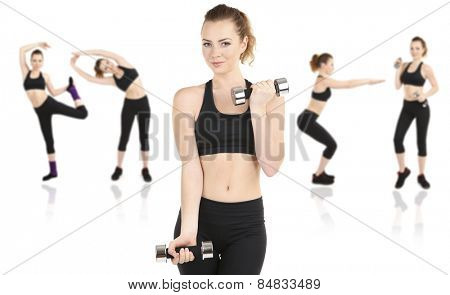 Young woman doing fitness exercises isolated on white,  different poses in collage