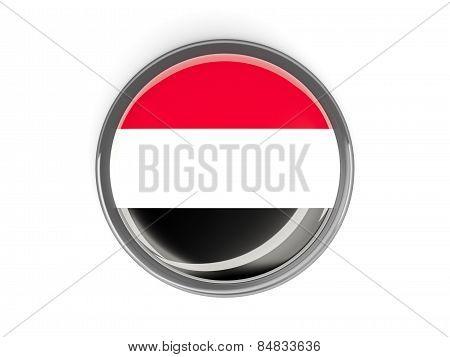 Round Button With Flag Of Yemen