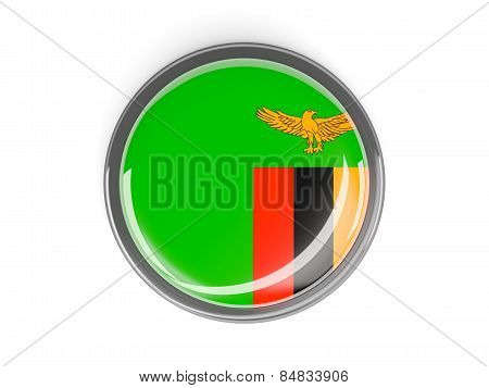 Round Button With Flag Of Zambia