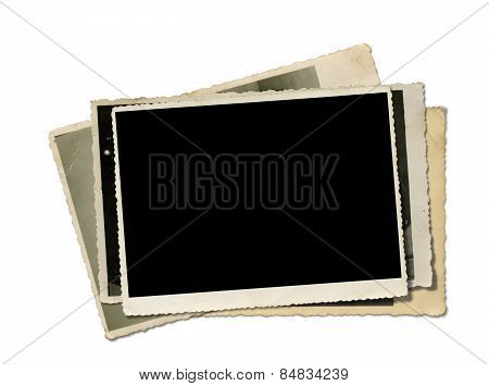 Stack Old Photos. Clipping Path.