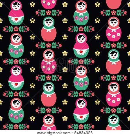 Russian doll Matryoshka folk seamless pattern on black