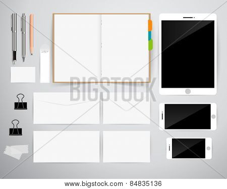 Blank Template. Consist of Business cards, Notebook, Tablet PC, pen, pencil, envelopes and smart phones