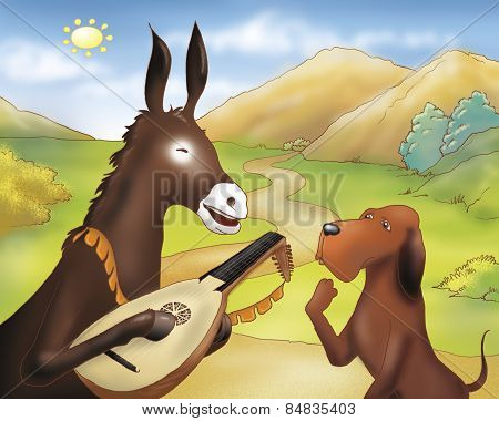 Donkey with balalaika and dog