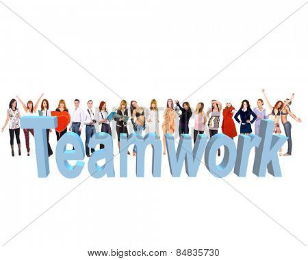 With a word Teamwork Colorful Teammates