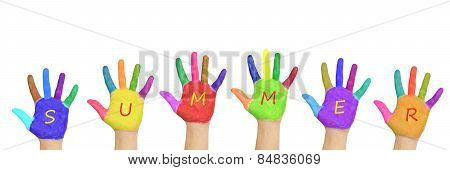 Kids Colorful Hands Forming Word