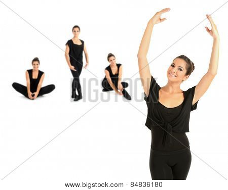 Young beautiful dancer isolated on white, different poses in collage