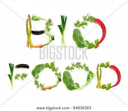 Phrase Bio Food made of vegetables isolated on white