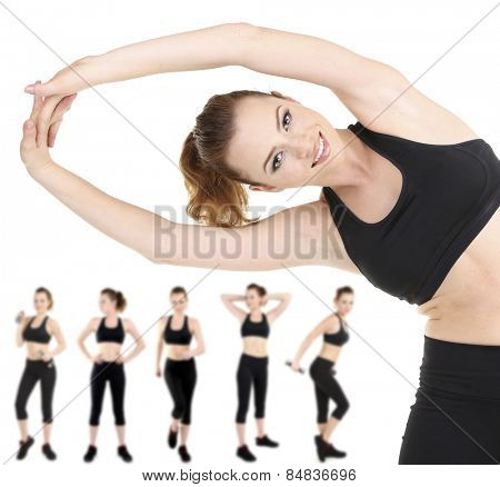 Woman doing exercises isolated on white, different poses in collage