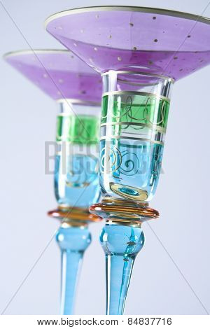 Two decorative cocktail glasses
