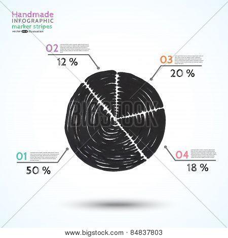 Handmade infographic marker stripes