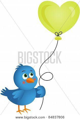 Blue bird holding heart balloon