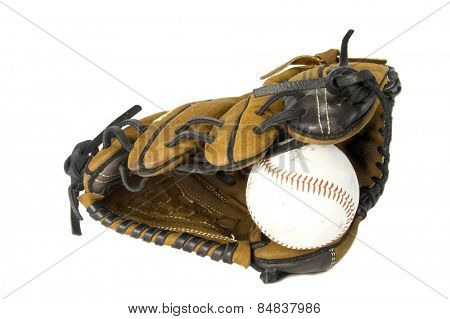 Baseball and brown baseball glove isolated against white