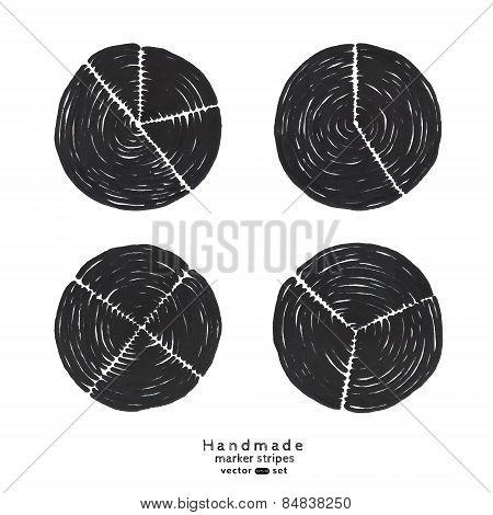 Handmade marker diagram pie shape set