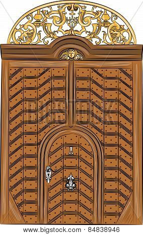 Vector Vintage Wooden Door