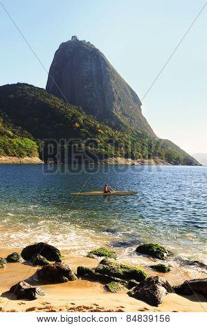 Mountain Sugarloaf Red Beach Sea Sand Man Surfing Canoe, Rio De Janeiro, Brazi