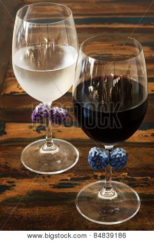 Idea Of Decoration: Colorful Crochet Bow On Glasses For Not Mix Up On  Party