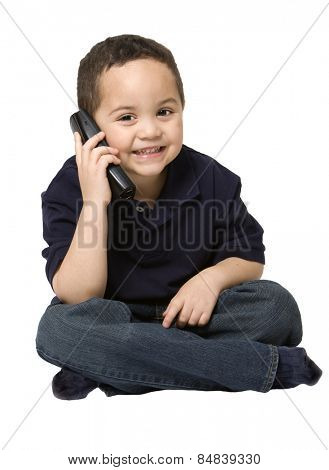 Young boy on the telephone