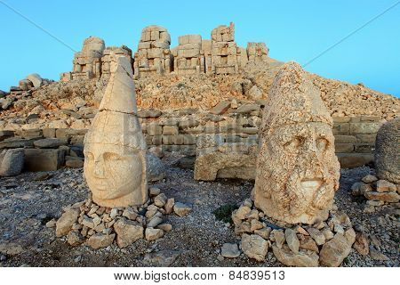 East Terrace Of Mount Nemrut At Sunrise With The Head In Front Of The Statues. The Unesco World Heri