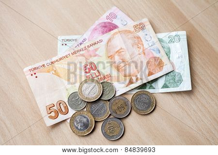 Different Banknotes And Coins. Turkish National Money