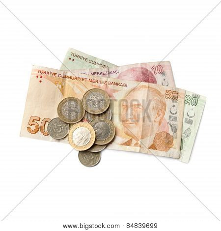 Turkish National Money Isolated On White Background