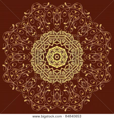 Circular Pattern In Mandala Style. Set
