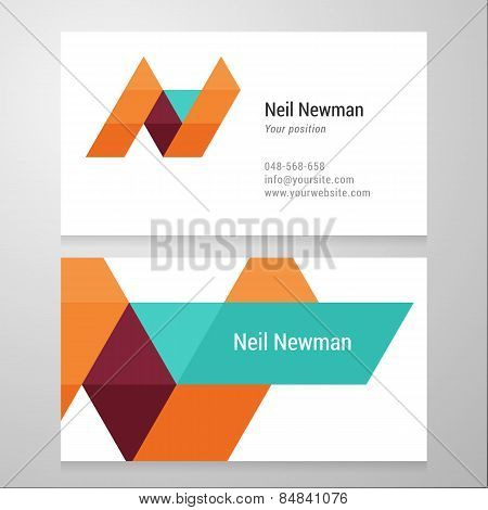 Modern Letter N Business Card Template