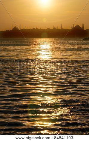Sunset In Istanbul.gold Color Reflections On The Sea.