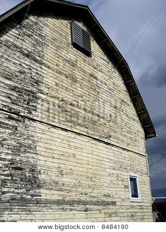 Old Yellow Barn with Wood Siding
