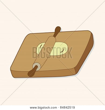 Kitchenware Chopping Board And Rolling Pin Theme Elements Vector,eps