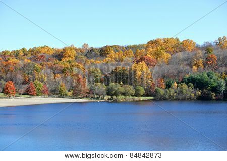 Lake with beautiful fall trees in background